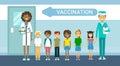 Doctor Vaccination Of Children Illness Prevention Immunization Medical Health Care Hospital Service Medicine Banner Royalty Free Stock Photo