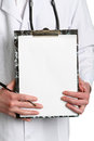 Doctor whit a clipboard over a white Stock Photos
