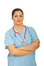 Doctor woman with arms folded Royalty Free Stock Photo