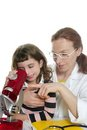 Doctor woman teacher and pupil microscope Royalty Free Stock Photo