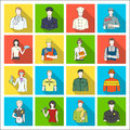 Doctor, worker, military, artist and other types of profession.Profession set collection icons in flat style vector