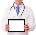 Doctor working with tablet isolated Stock Image