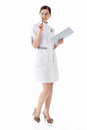 Doctor young nurse on a white background Stock Photos