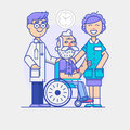 Doctor and young woman social worker strolling with elder man in wheelchair. linear poster on white background