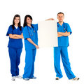 Doctors with an banner Stock Photo