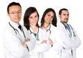 Doctors det male medicinska laget f�r kvinnlign Arkivbilder
