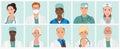 Doctors and nurses avatars set. Medical staff icons. Vector illustration.