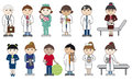 Doctors and nurses set of cartoon characters health medical people Royalty Free Stock Photography
