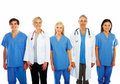 Doctors and nurses standing in a line Royalty Free Stock Photo