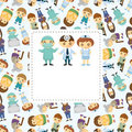 Doctors and Patient people card Royalty Free Stock Photography