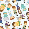 Doctors and Patient people seamless pattern Royalty Free Stock Photos