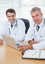 Doctors posing while working together on laptop in bright office Stock Image
