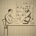 Doctors report chemist writing about scientific research in laboratory illustration Stock Images