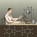Doctors report doctor writing about scientific research in laboratory illustration Stock Image