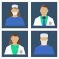 Doctors Set. Medical object flat icon. Vector Illustration.