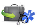 Doctors suitcase equipment illustration design over a white background Stock Photos