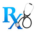 Doctors symbol with a stethoscope illustration design over white Stock Images