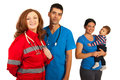 Doctors team and family Royalty Free Stock Photo