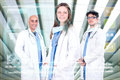 Doctors team in medical facilities with modern screen Royalty Free Stock Photography