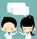 Doctors vector illustration on blue background Stock Image