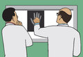 Doctors viewing x ray two examining of patient s hand Royalty Free Stock Images