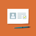 Document with approved checkmark vector illustration, personal data doc with passed checkbox