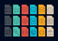 Document file types icons collection of colorful vector in modern flat design style of various program or type version isolated on Royalty Free Stock Photography