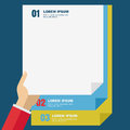 Document files in hands, isolated background. Flat design modern Royalty Free Stock Photo