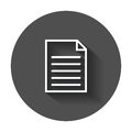Document icon vector flat illustration.