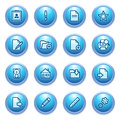 Document icons on blue buttons, set 2. Stock Image