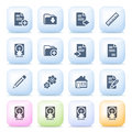 Document icons on color buttons. Stock Image