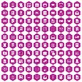 100 document icons hexagon violet