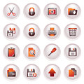 Document icons, set 1. Black red series. Stock Photos