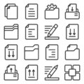 Document icons set. Create, print, sort, and edit. Linear execution. Isolated vector on a white background. Royalty Free Stock Photo