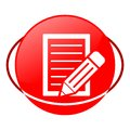Document with pencil vector illustration, Red icon Royalty Free Stock Photo