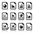 Document with pie chart graph icons set vector of business finance results icolated on white Stock Photos