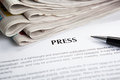 Document with the title of press newspaper closeup Royalty Free Stock Photography