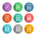 Document vector icons set collection of colorful in modern flat design style of various program file or type version isolated on Stock Photo