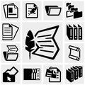 Document vector icons set on gray grey background eps file available Royalty Free Stock Photo