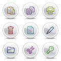 Document web colour icons, white circle buttons Stock Image