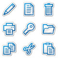 Document web icons, blue contour sticker series Royalty Free Stock Image