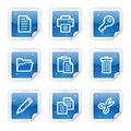 Document web icons, blue glossy sticker series Royalty Free Stock Images