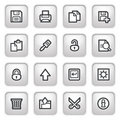Document web icons on gray buttons, set 1. Royalty Free Stock Image
