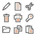 Document web icons, orange and gray contour series Stock Photo