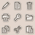 Document web icons set 1, brown contour sticker Stock Image