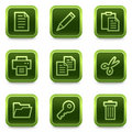 Document web icons set 1, green square buttons Royalty Free Stock Images