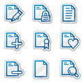Document web icons set 2, blue contour sticker Stock Photography