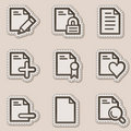 Document web icons set 2, brown contour sticker Royalty Free Stock Photo