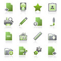 Document web icons, set 2. Gray and green series. Stock Photos