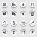 Document web icons on white buttons set vector for websites guides booklets Royalty Free Stock Images